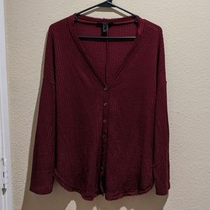 Forever 21 Loose Long Sleeve Button Front Blouse